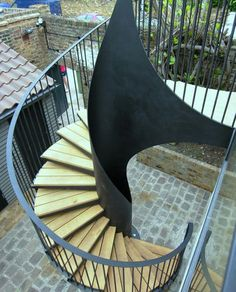 Morton House Stairs is a Modern, Bold Spiral Staircase with a Nautical Theme - The Perfect Staircase for Bringing the Outside In. House Staircase, Spiral Staircase, Staircase Design, Staircases, Stairs, External Staircase, Nautical Theme, Outdoor Furniture, Outdoor Decor