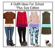 """4 Outfit Ideas For School Plus Size Edition"" by victoria-pittore ❤ liked on Polyvore featuring Dex, Elvi, JJ Footwear, M&Co, Skechers, Rimini, Melissa McCarthy Seven7, Chelsea Crew, French Blu and Summer"