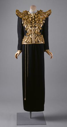 Evening ensemble, spring/summer 1980  Yves Saint Laurent (French, born Algeria, 1936)  Gilt embroidered black silk gazar
