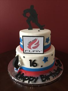 Chicago Fury Hockey Birthday Cake