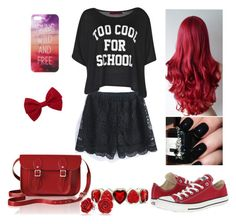 """""""Too cool for school"""" by belmina-v ❤ liked on Polyvore featuring Converse, The Cambridge Satchel Company, Boohoo, Forever 21, Liz Claiborne and Bling Jewelry"""