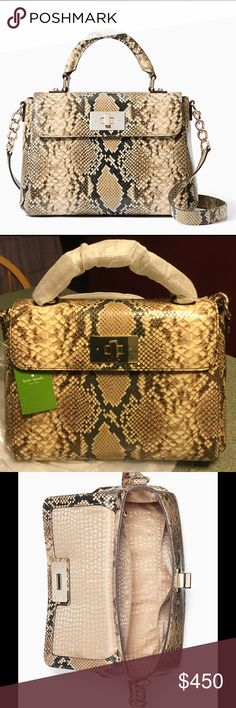 """♠️ KATE SPADE CARLISLE LITTLE NADINE ♠️ ♠️ KATE SPADE CARLISLE LITTLE NADINE ♠️ DETAILS: top handle satchel with adjustable cross body strap. Gold turn lock closure. Custom woven unframed spots on cotton twill lining. Interior zip and double slide pockets. Embossed kate spade new york signature. Drop length: 3.5""""handheld, 19''-22'' adjustable strap♠️MATERIAL:Snake embossed cowhide slightly crinkled patent leather with matching trim. Capital kate jacquard lining♠️14-karat light gold plated…"""