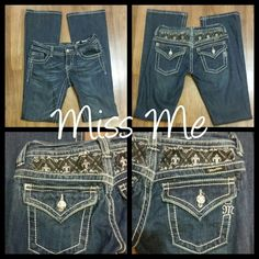 "Miss Me Jeans Stretchy jeans with buttons engraved with logo.   Three front pockets and two back pockets.   Inseam 34"". Excellent condition. Miss Me Pants"