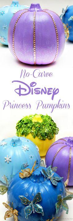Easy to make no-carve Disney Princess Pumpkins featuring Rapunzel, Tiana, Elsa and Cinderella!