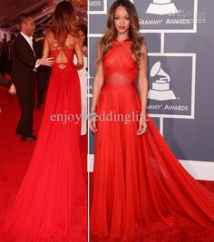 Wholesale Celebrity Dresses - Buy Rihanna 2013 Sexy Grammy Awards Red Chiffon Sheer Halter Ruffles Celebrity Dresses 2666, $135.0 | DHgate