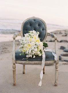 #beach #chairs #anemones Photography by josevillaphoto.com Styling and Design by joydevivre.net Florals by kellykaufmandesign.com/  Read more - http://www.stylemepretty.com/2013/07/18/nautical-wedding-inspiration-from-jose-villa-photography/