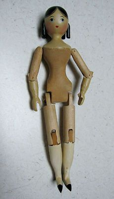 Vintage Sherman Smith 1974 Wood Carved Jtd Hitty Doll With Curls