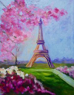 Eiffel Tower France 11 x 14 Modern Impressionist Original Oil