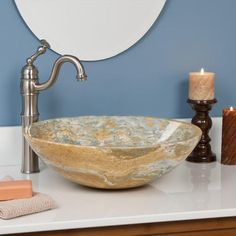 Round Polished Onyx Vessel Sink - Blue Onyx