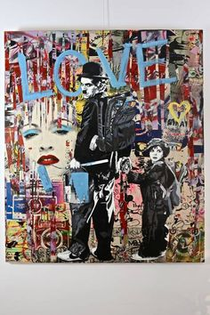 Charlie Chaplin and Child, by Mr. Brainwash, pop art, street art, graffiti art.: