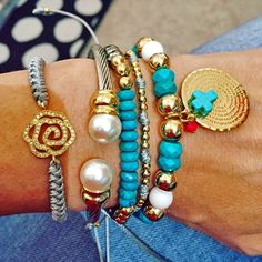 Set By Vila Veloni Beautiful Turquoise And Gray Combination Bracelets