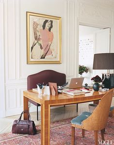 L'wren Scott and Mick Jagger's Paris Apartment via Vogue. Andy Warhol's portrait of a young Mick Jagger hangs in the study.