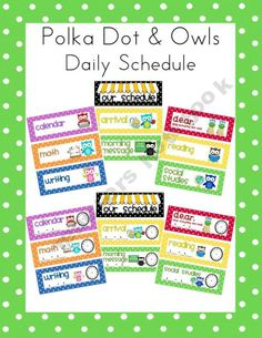 Polka Dot and Owls Schedule Card Set