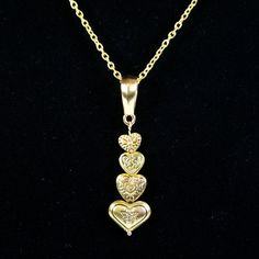 """4 Hearts Promise Gold Plated Pewter Pendant"