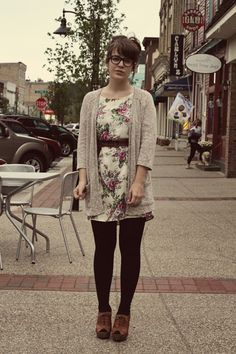 Winter outfit. Grey sweater, black floral skirt, black tights ...