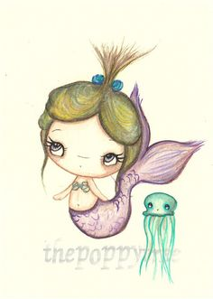 Mermaid Painting Whimsical Girl with Jellyfish ---Original Watercolor Painting 5 x 7