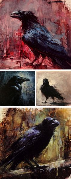 Crow/Raven Art by Lindsey Kustusch-  I'm quite sure Edgar would love this.