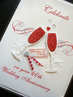 Personalised Handmade 40th 'Ruby' Anniversary Card