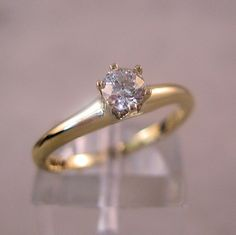 1930s Diamond Engagement Ring 14K Solitaire by BrightEyesTreasures, $325.00