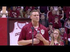 Indiana's Derek Elston gives his Senior Night speech in Assembly Hall.
