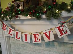 Christmas mantle banner by anyoccasionbanners on Etsy. $16