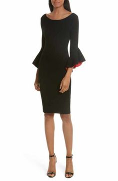 Milly Contrast Lined Bell Sleeve Sheath Dress