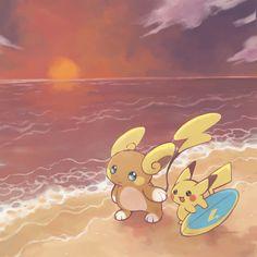 Surfing Pikachu & Alolan Raichu