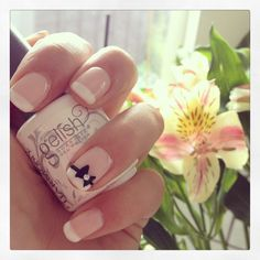 Gelish French manicure with accent nail bow