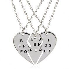 "Shop, Necklaces, Pendants, 3 Parts Broken Heart ""Best Friends Forever"" Bff Gift Best Friends Necklace for 3 (Silver- - Bff Necklaces, Best Friend Necklaces, Best Friend Jewelry, Best Friends Forever, Three Best Friends, Couple Jewelry, Fine Jewelry, Gold Jewellery, Silver Jewelry"