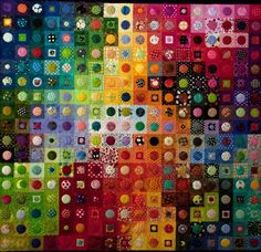 geometric, modern rug design idea: multi-colored squares filled with differently-colored circles or squares.