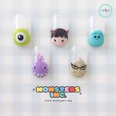 Monsters Inc - Tsum Tsum Nails : ?Monsters Inc Tsum Tsum Nails? Happy Mike, Randall Boggs, Boo, Roz and James P. Disney Manicure, Disney Acrylic Nails, Nail Manicure, Cartoon Nail Designs, Nail Art Designs Videos, Cute Nail Art, Cute Nails, Pretty Nails, Monster Inc Nails