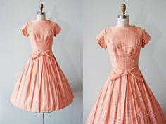 1950s Dress Vintage 50s Dress Orange Sherbet Houndstooth