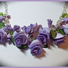 3 Shades of Purple Roses Statement Necklace 16 in. Polymer Clay Crystals Pearls Handcrafted Floral Necklace Flowers Polymer Panache OOAK