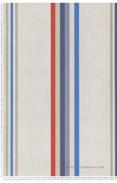 Rayures Bleu, Rouge et Beige Key West - papier peint Casadéco Decoration, Beige, Rugs, Home Decor, Room Wallpaper, Red White Blue, Color Blue, Blue Stripes, Home Decoration