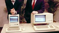 Apple CEO Steven P. Jobs and President John Sculley present the new Macintosh Desktop Computer