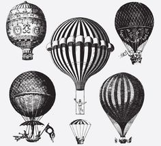HOT AIR BALLOONS FREE VINTAGE VECTOR PRINTABLE | http://www.freevintagevectors.com/2015/07/hot-air-balloons.html