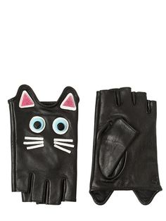 Karl Lagerfeld - choupette leather fingerless gloves