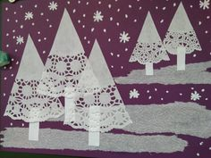 Christmas Crafts For Kids To Make, 3d Christmas, Diy Christmas Cards, Winter Crafts For Toddlers, January Crafts, Winter Art, Elementary Art, Preschool Crafts, Doilies