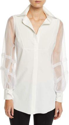 cc093a754f Chiara Boni Bayda Organza-Sleeve Shirt