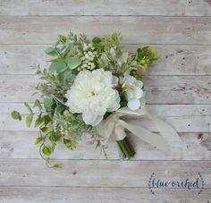 Silk Wedding Bouquet, Boho Bouquet, Bridal Bouquet, Greenery Bouquet, Silk…