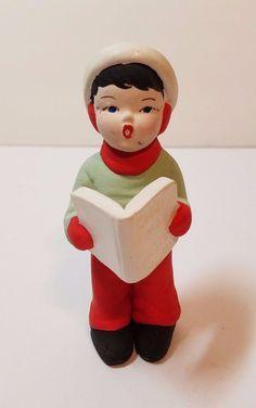 "VTG Xmas Ceramic Atlantic Mold Holiday Caroler Figurine 5"" Boy Book Display 60s"