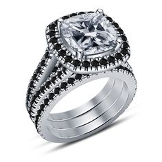 Elegant Design 925 Sterling Silver Plated Cushion Cut Engagement Bridal Ring Set #SolitaireWithAccentsWeddingEngagementRing