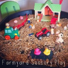 Farm Yard Sensory Bin - Great for our Farm theme! Pre-K Complete Preschool Curriculum uses Sensory Stations daily. Repinned by Pre-K Complete - follow our blog, FB, Twitter, and Google Plus.
