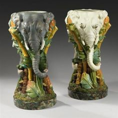 Jerome Massier Vasques Éléphants 3 têtes (set of 2) faience 36.2 in. / Height 92 cm. Signed