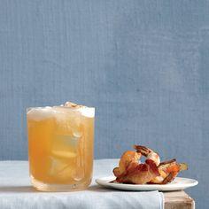 Maple-Bourbon Cider: Ice6 ounces Bourbon4 teaspoons fresh lemon juice2 teaspoons pure maple syrup1 cup apple ciderCayenne pepper