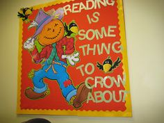 "Fall - Thanksgiving - Back to School - Library Bulletin Boards--(Check my ""Bulletin Board Masterpost"" for more bulletin board images) November Bulletin Boards, Thanksgiving Bulletin Boards, Halloween Bulletin Boards, Reading Bulletin Boards, Fall Bulletin Boards, Bulletin Board Display, Fall Boards, Reading Boards, Display Boards"