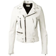 Saint Laurent Washed White Motorcycle Leather Jacket (16.895 RON) ❤ liked on Polyvore featuring outerwear, jackets, white jacket, real leather jacket, asymmetrical jacket, white leather jacket and yves saint laurent jacket