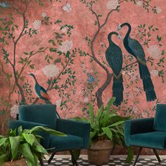 beut x Coordonne Core Edo Mural Wallpaper - Dusky Pink Unique Wallpaper, Print Wallpaper, Pink Wallpaper With Birds, Pink Wallpaper For Walls, Wallpaper Murals, Beautiful Wallpaper, Vinyl Wallpaper, Colorful Wallpaper, Pattern Wallpaper