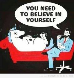 Humor gráfico, un unicornio en el diván del psicoanalista