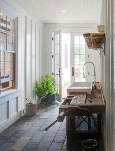 Indoor looking like outdoor entrance. Character-